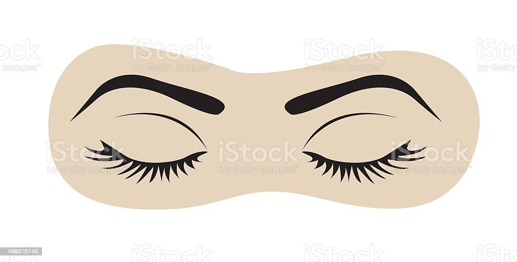 closed eyes with eyelashes and eyebrows vector art illustration
