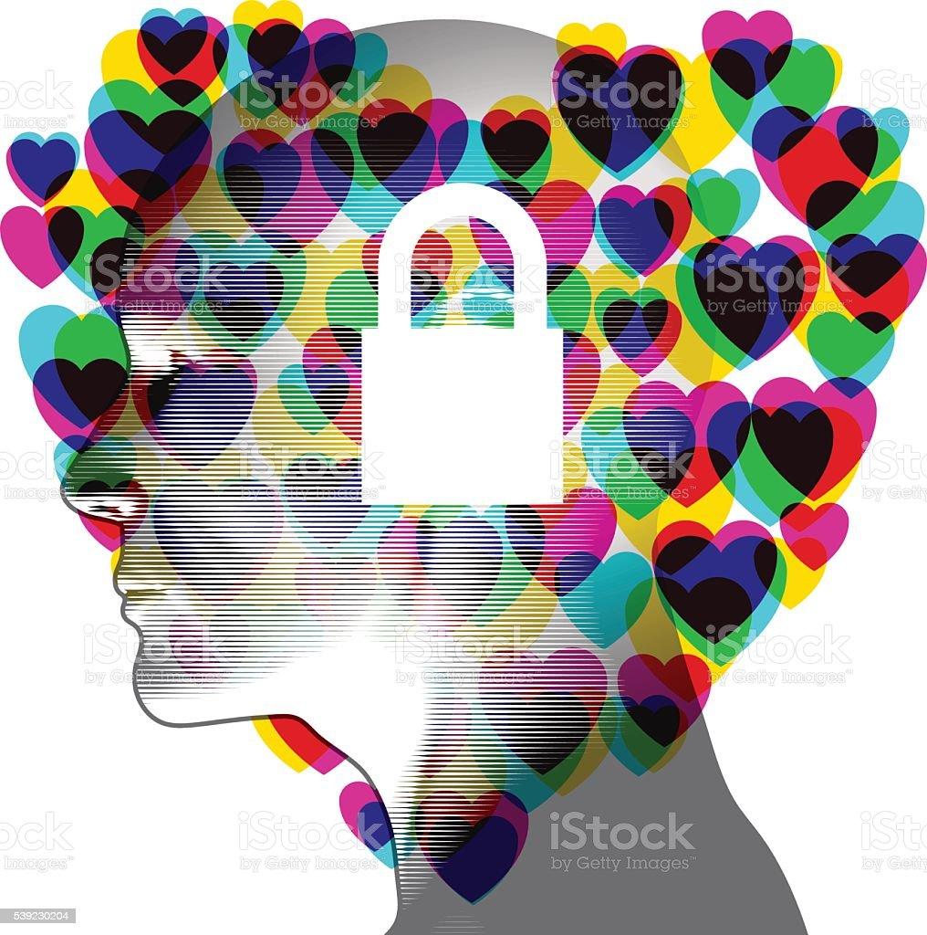 Closed Love Mind vector art illustration
