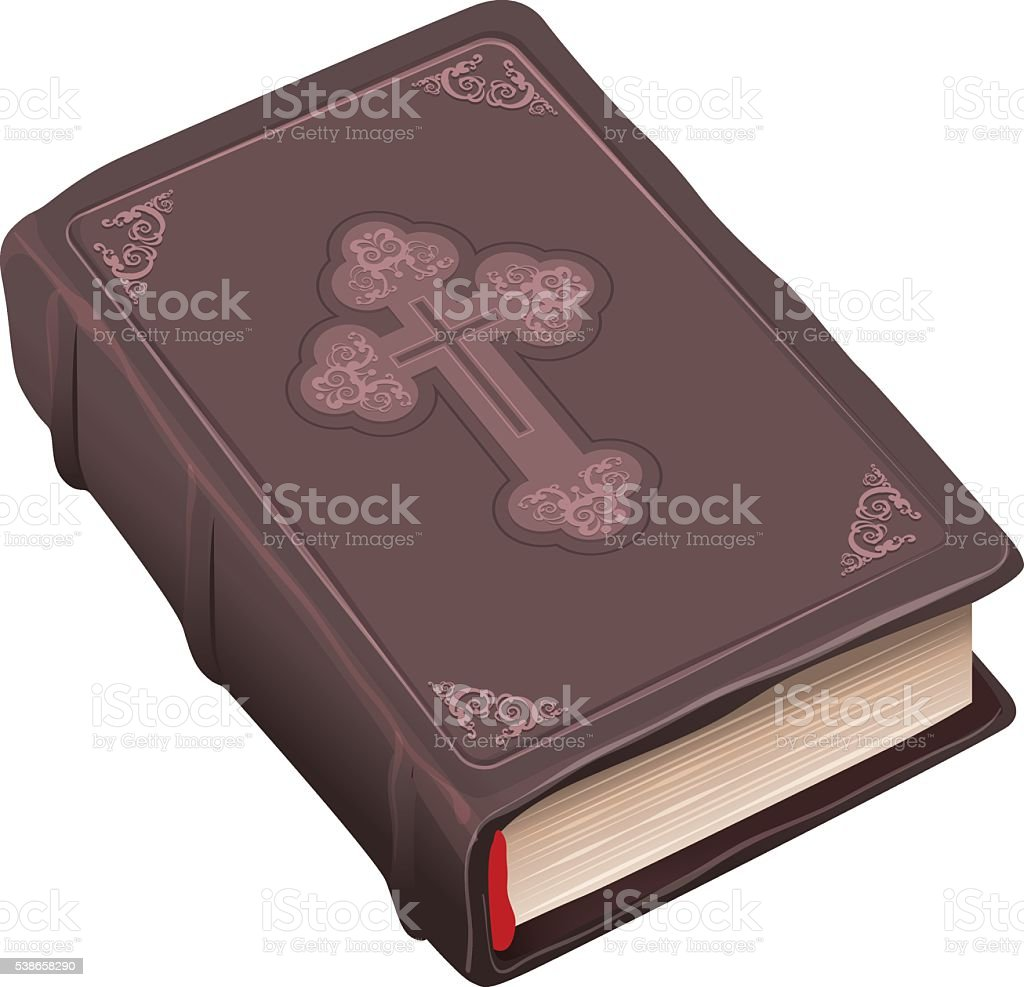 Closed old bible book in brown cover vector art illustration