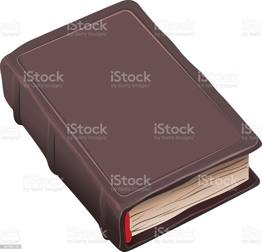 Closed old book in brown cover vector art illustration
