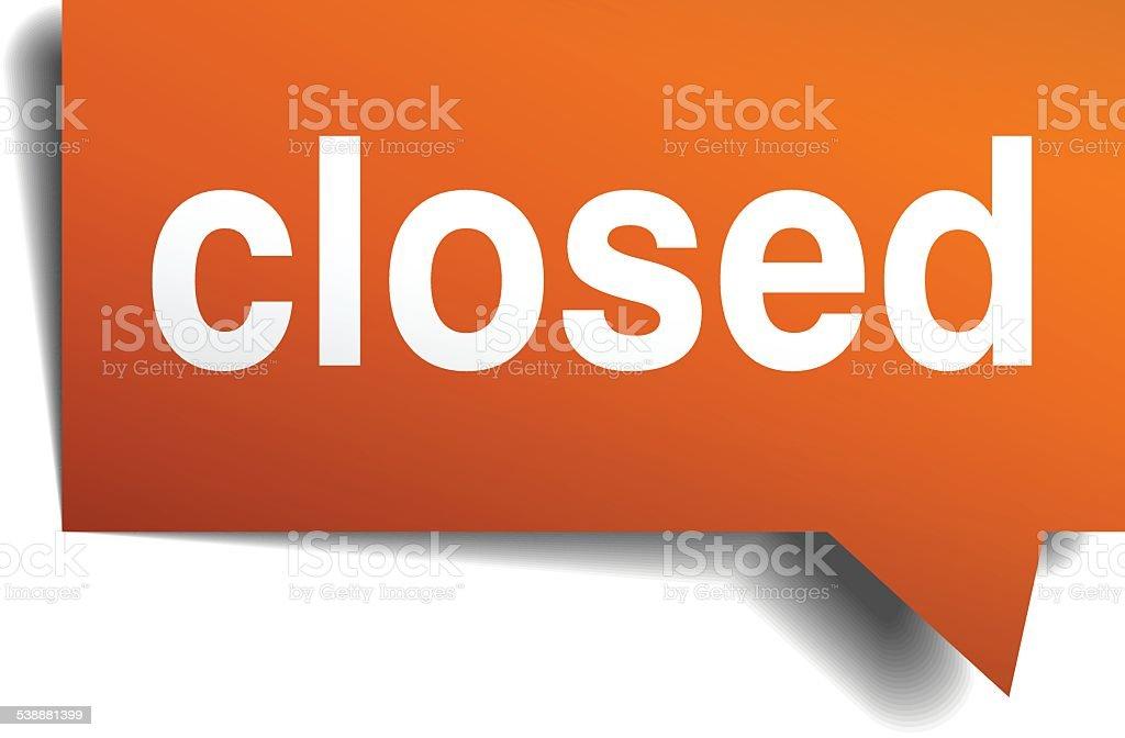 closed orange speech bubble isolated on white vector art illustration