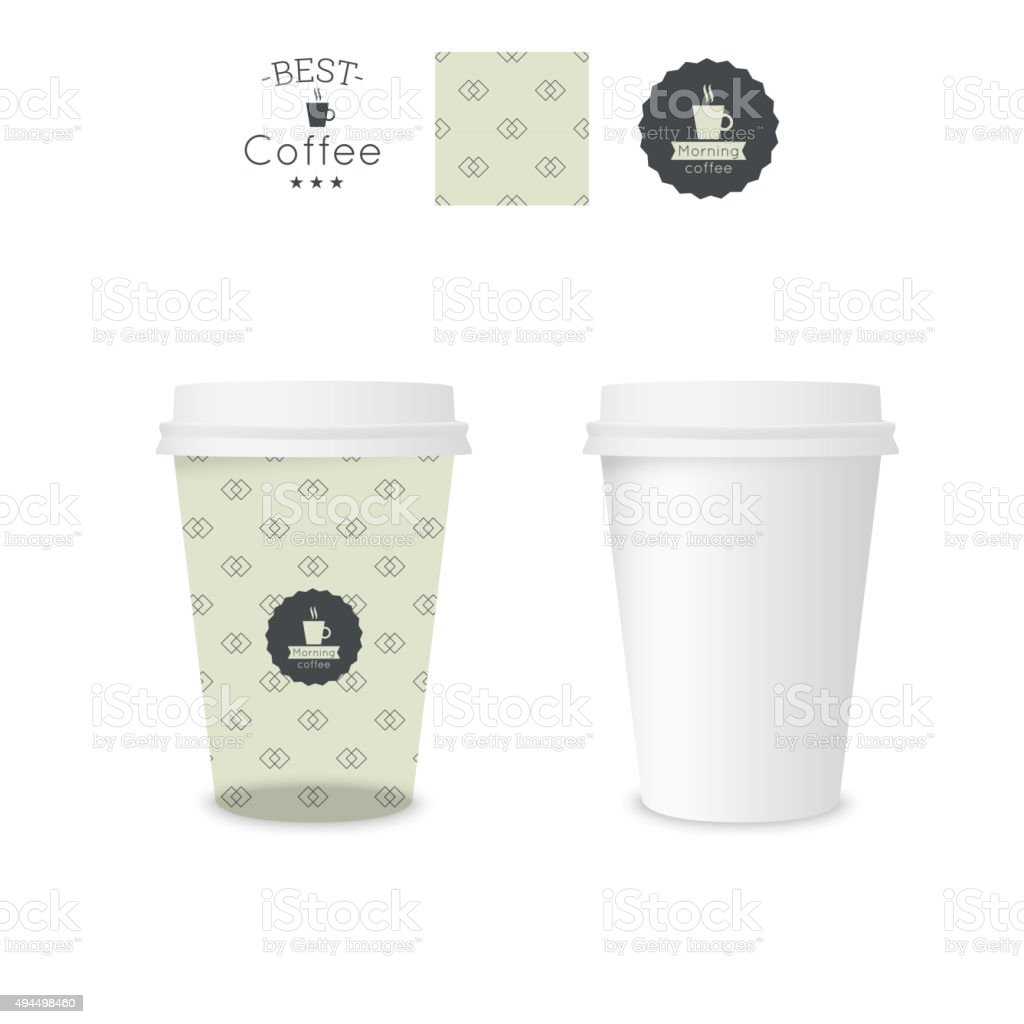 Closed paper cup for coffee with texture vector art illustration