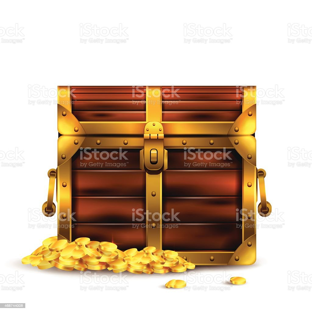 Closed Pirates chest with overflowing gold  vector art illustration