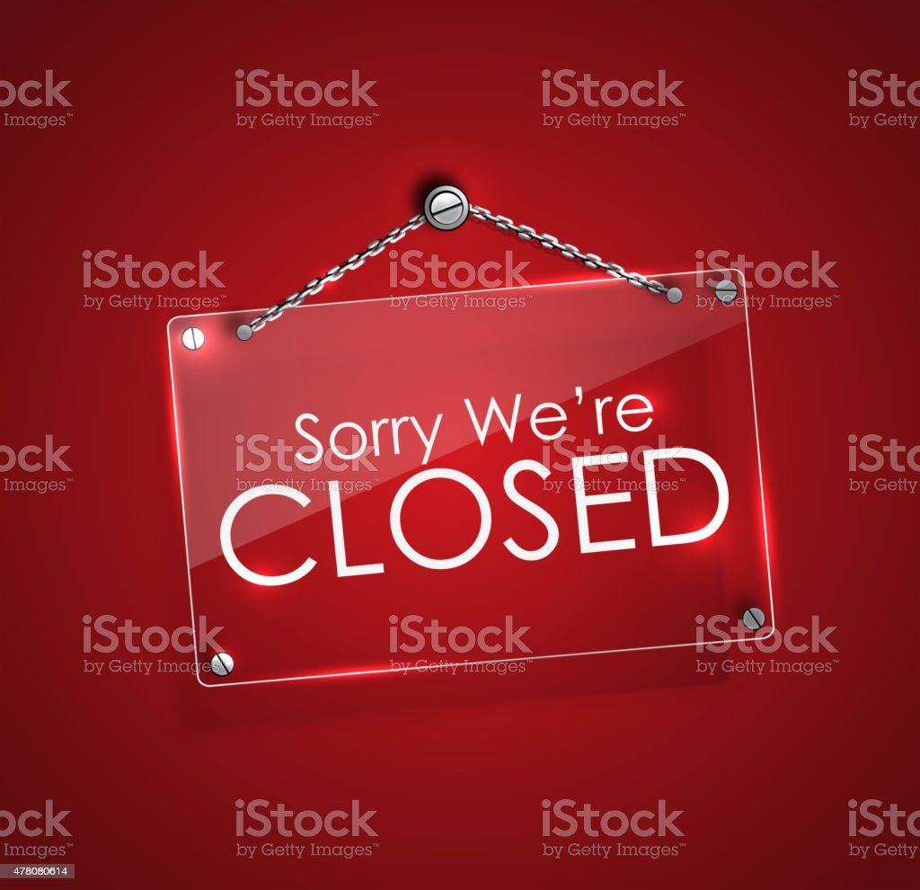 Closed signs with bright frame digital hanging with chain. vector art illustration