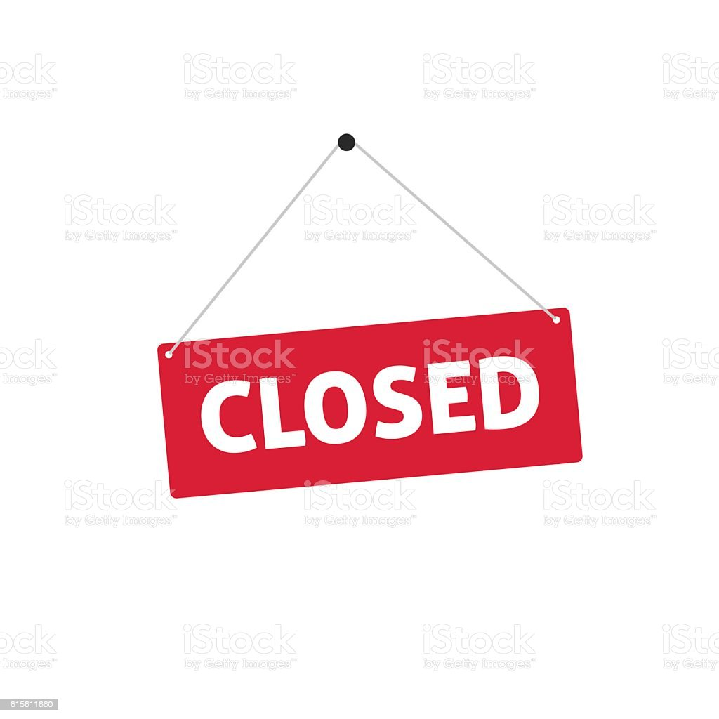 Closed sing vector illustration, flat style signboard hanging vector art illustration