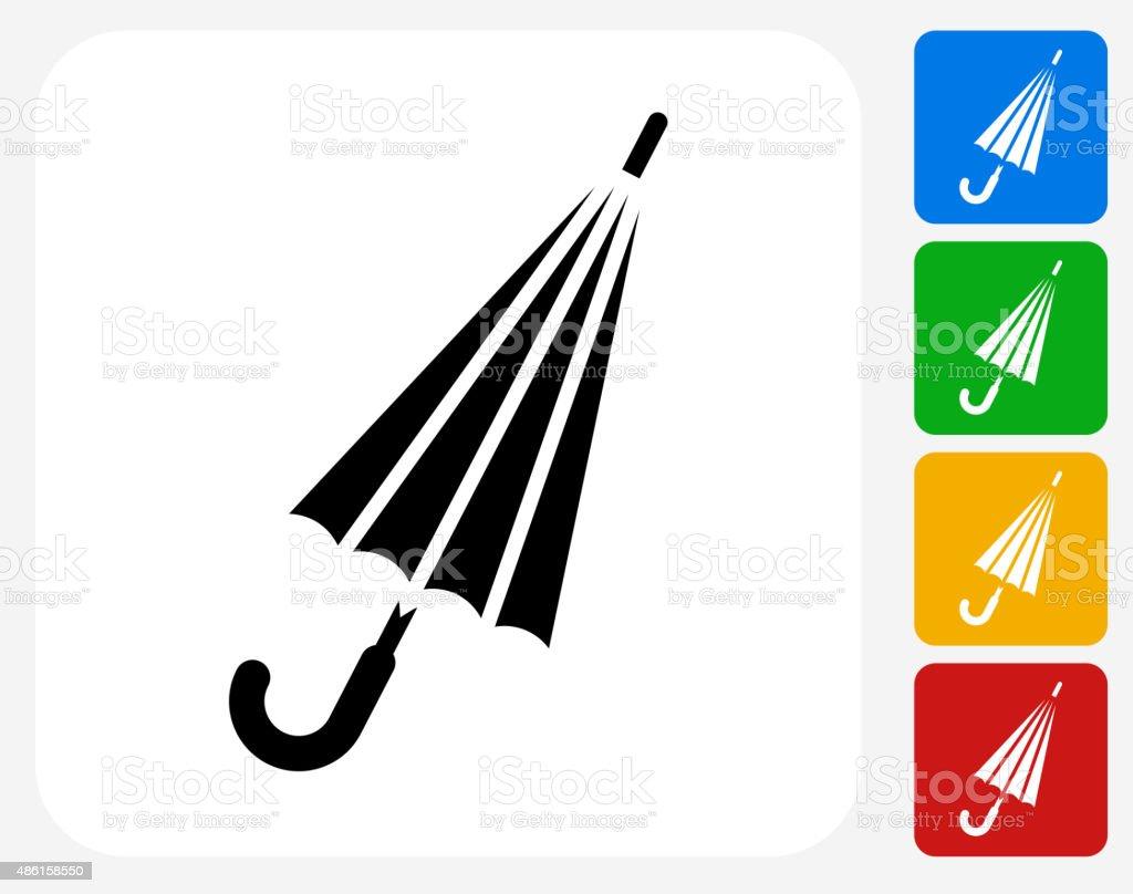 Closed Umbrella Icon Flat Graphic Design vector art illustration