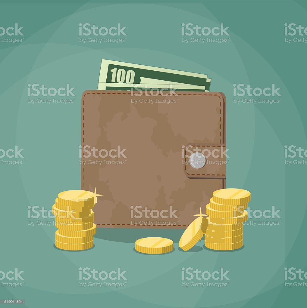 closed wallet with cash vector art illustration