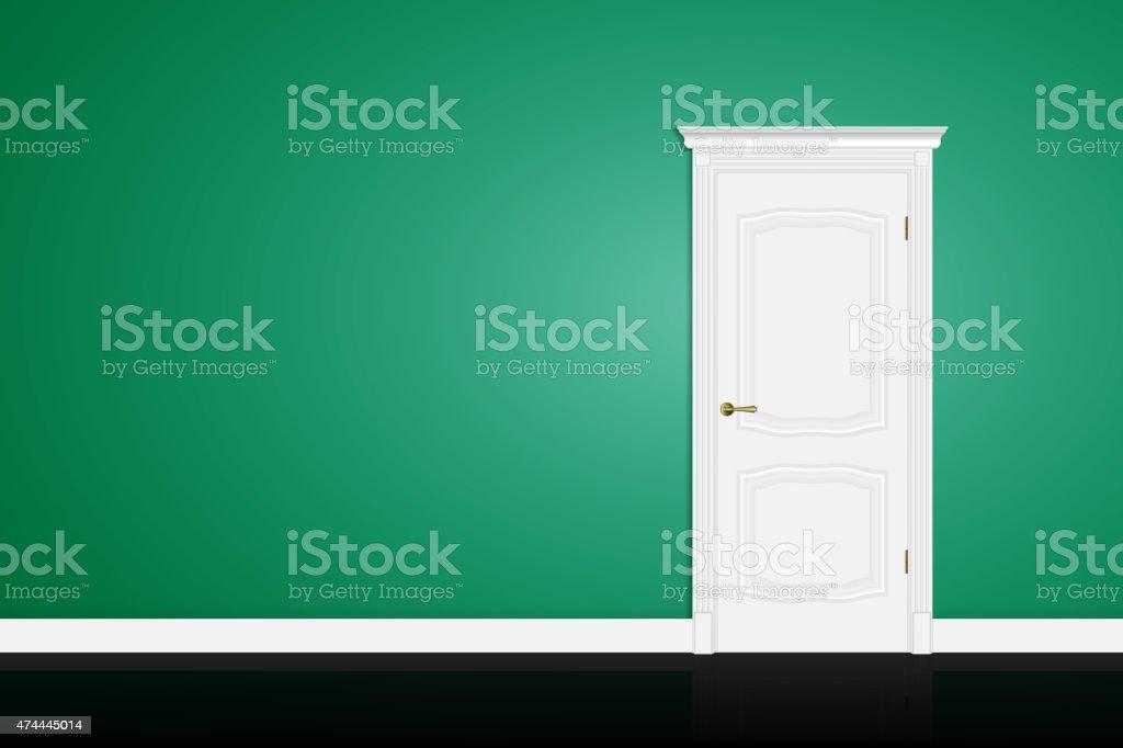 Closed white door on green wall. Vector vector art illustration