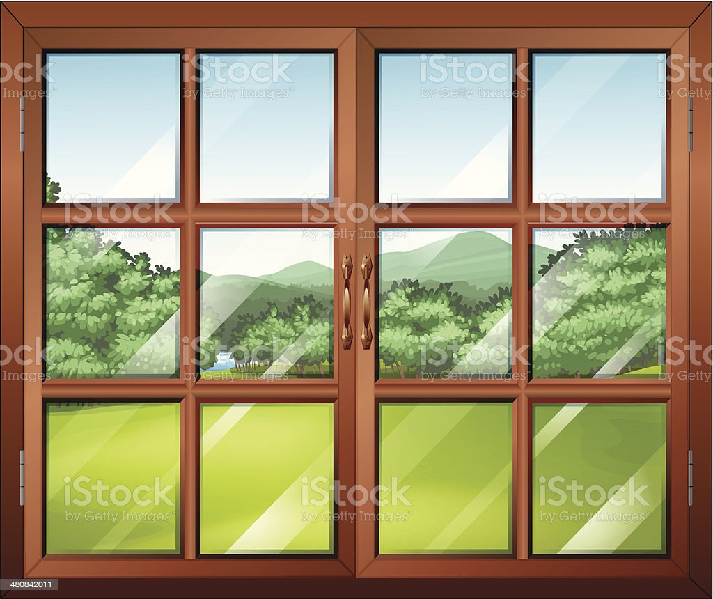 Closed window with a view of the green surroundings royalty-free stock vector art