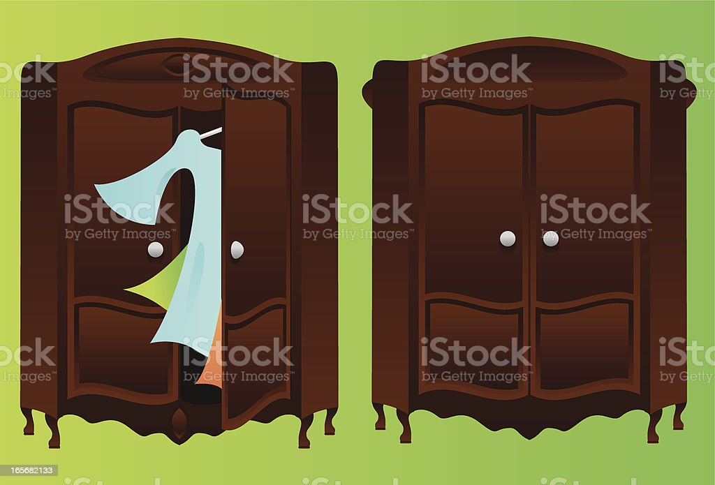 Closet, open and closed vector art illustration