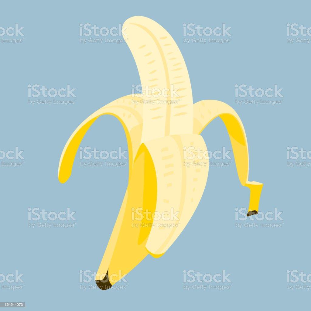 Close-up animated cartoon banana unpeeled halfway open fruit royalty-free stock vector art
