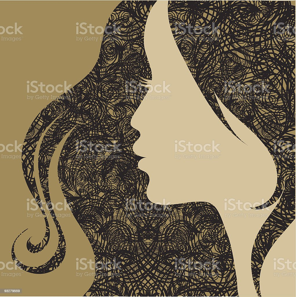 Closeup decorative vintage grunge woman royalty-free stock vector art