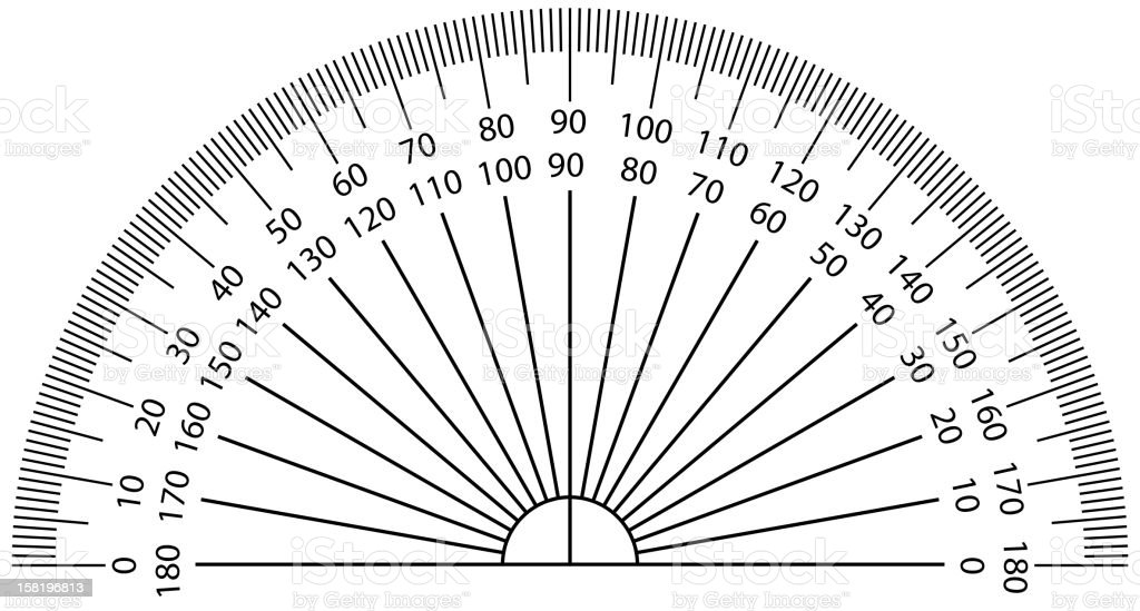 Close-up image of a protractor royalty-free stock vector art
