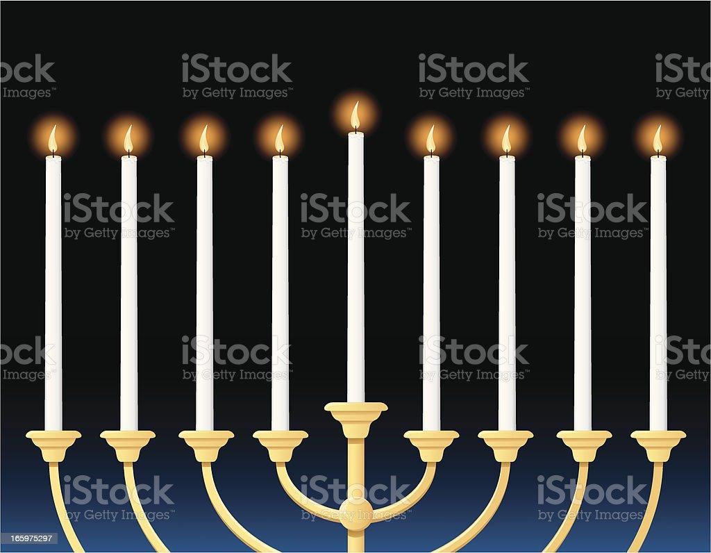 closeup menorah illustration with tall, narrow candles royalty-free stock vector art