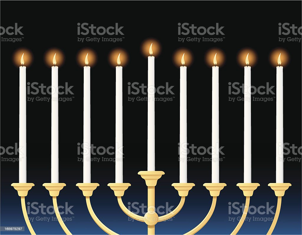 closeup menorah illustration with tall, narrow candles vector art illustration