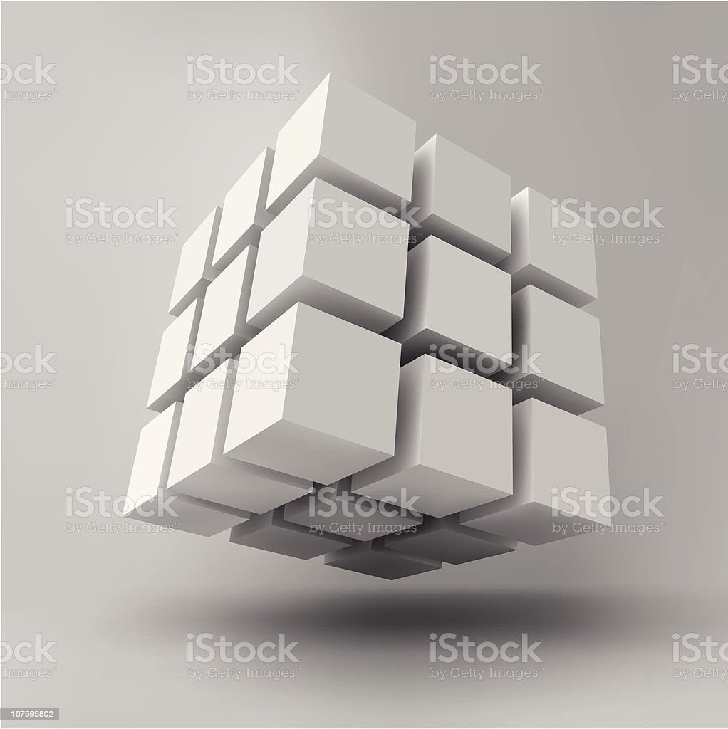 Close-up of 3-D white cube isolated on white background royalty-free stock vector art