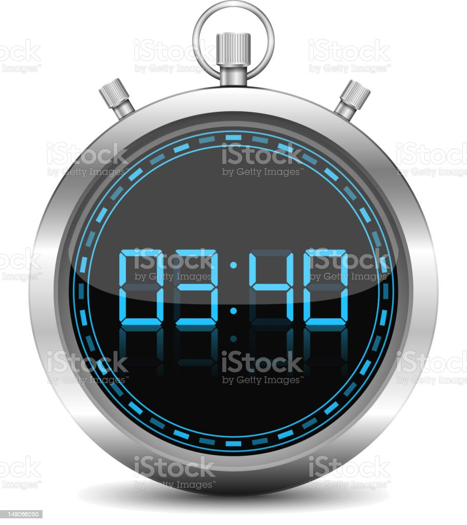 Close-up of a blue and silver stopwatch vector art illustration