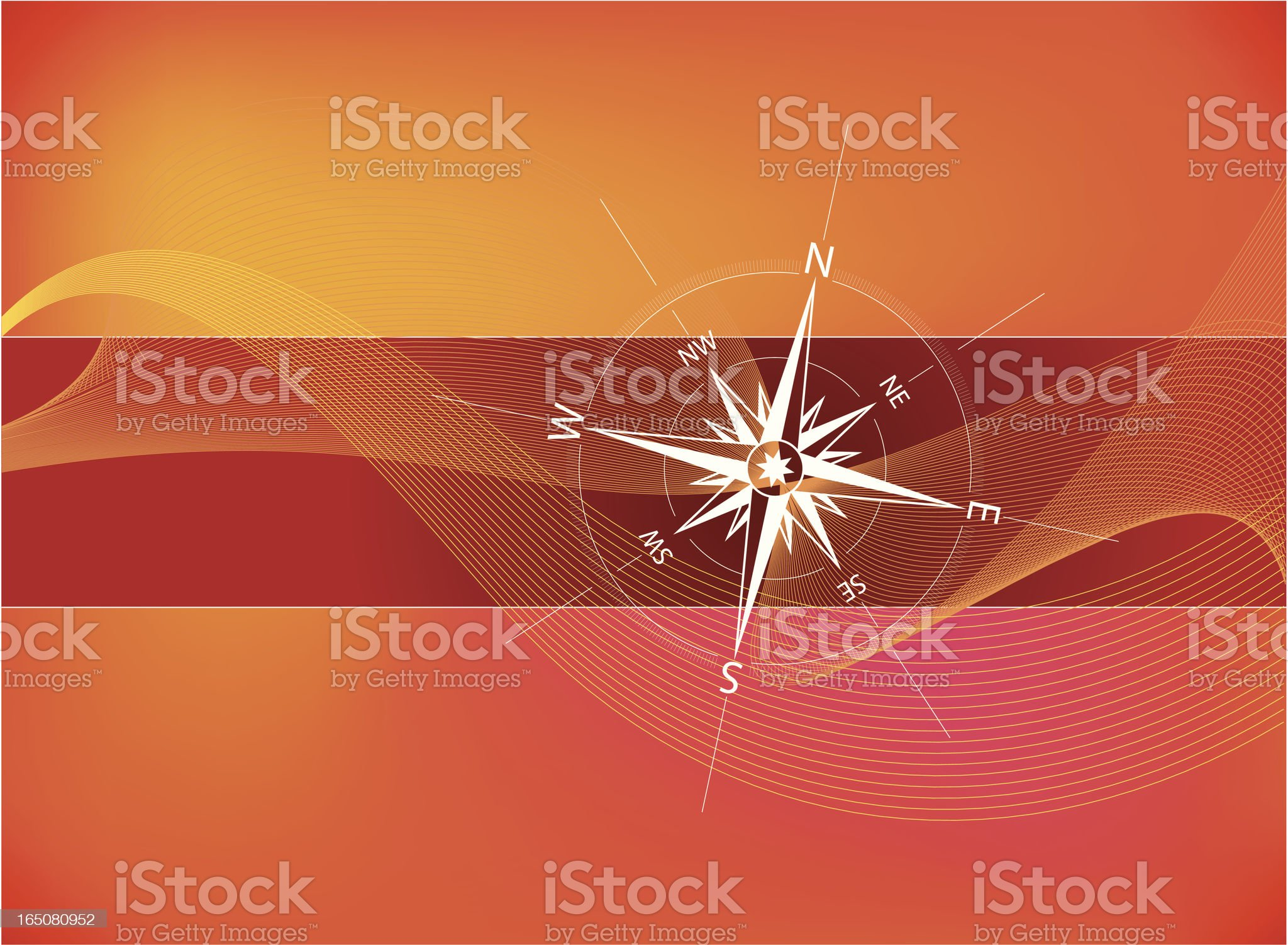 Close-up of a compass on red background royalty-free stock vector art