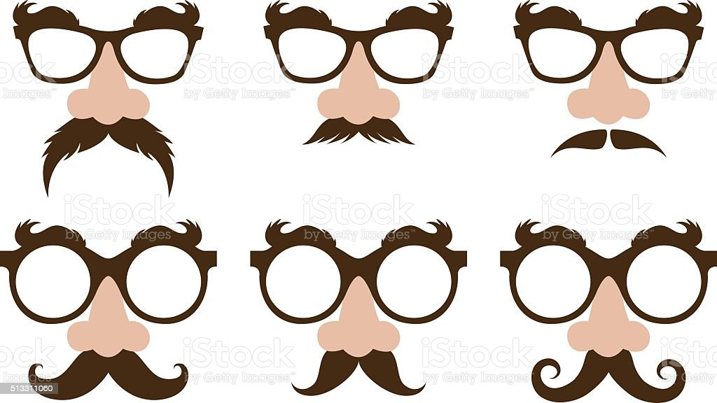 closeup of a fake nose and glasses vector art illustration