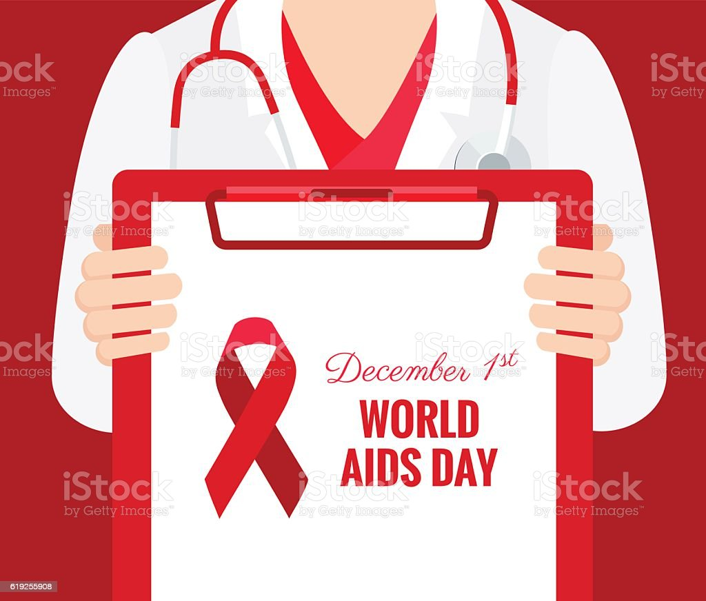 Close-up of a female doctor holding clipboard with aids symbol vector art illustration