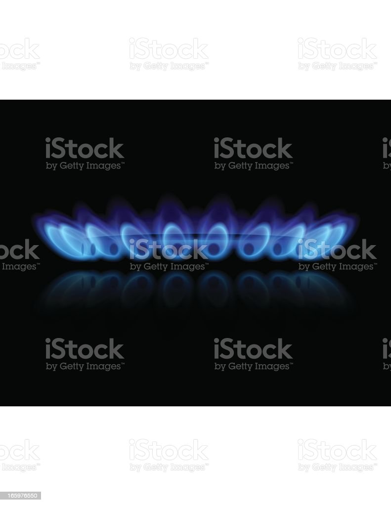 Close-up of a gas burner with blue flames vector art illustration