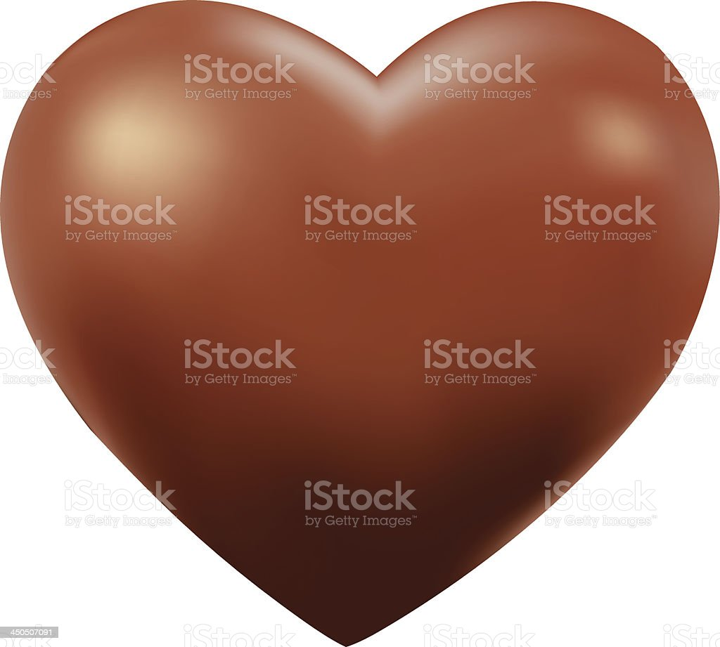 Close-up of a giant chocolate heart over a white background vector art illustration