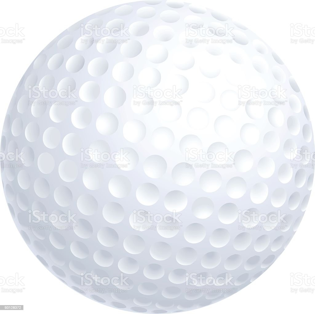 Close-up of a golf ball isolated on white background vector art illustration