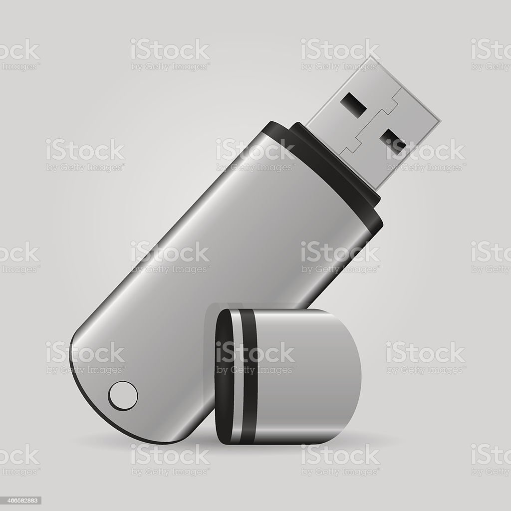 Close-up of a gray USB flash drive vector art illustration