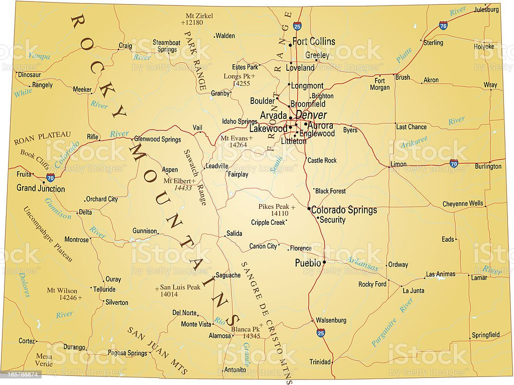 Close-up of a paper map of Colorado vector art illustration