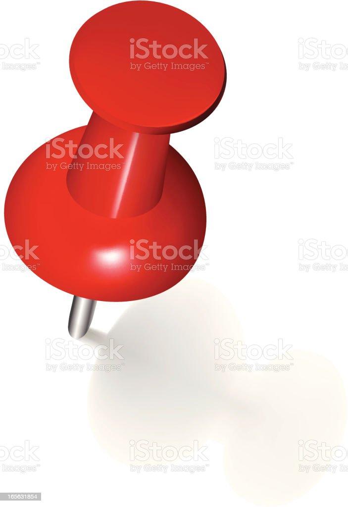 A close-up of a red thumb tack royalty-free stock vector art