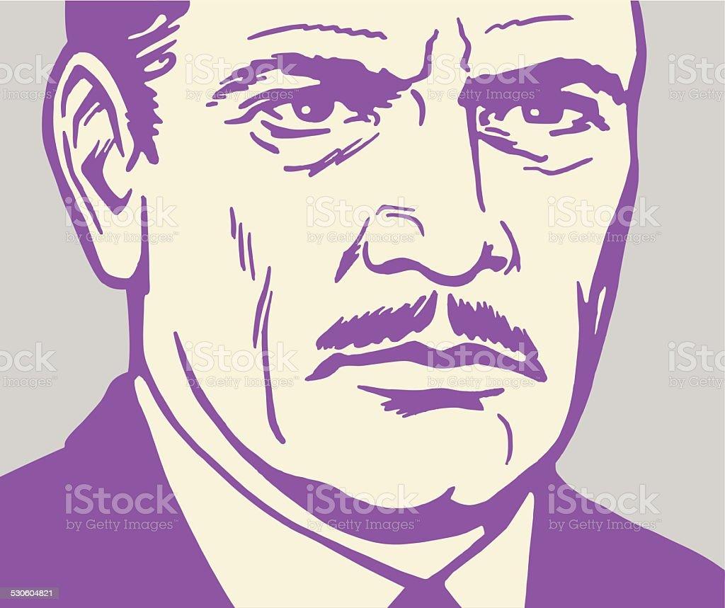 Closeup of a Serious Man vector art illustration