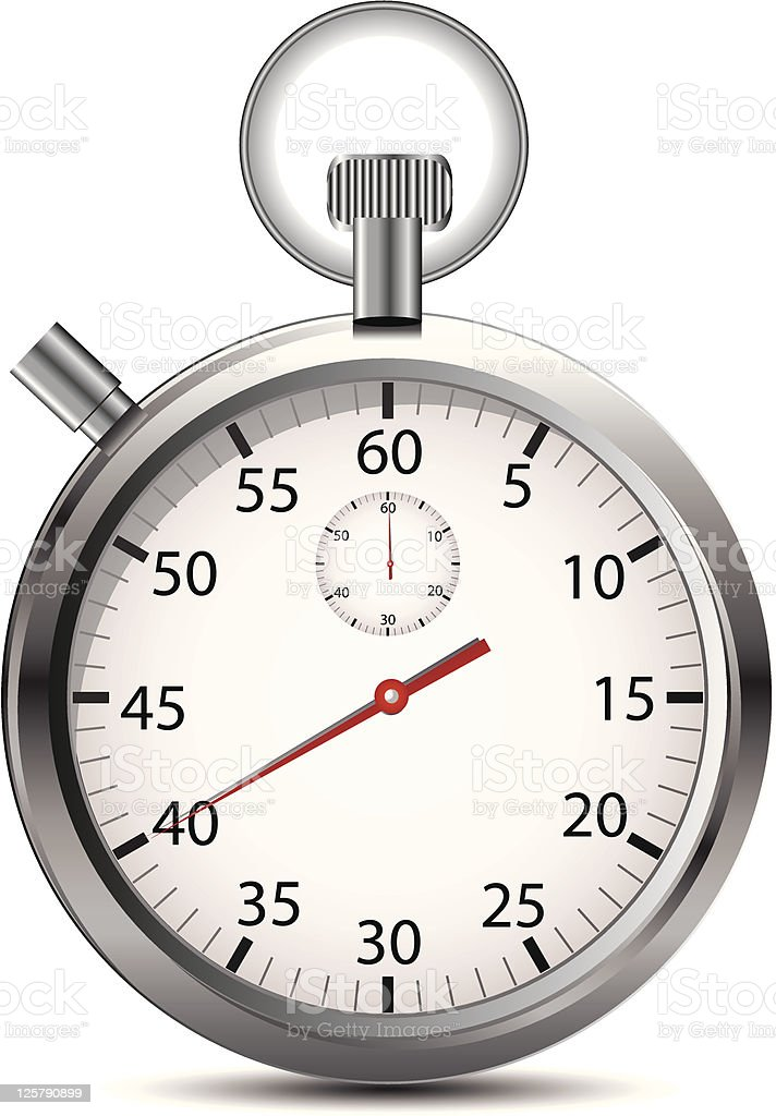 Closeup of a simple silver stopwatch on white background  royalty-free stock vector art