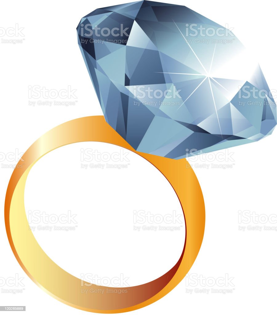 Close-up of a solitaire diamond ring drawing royalty-free stock vector art