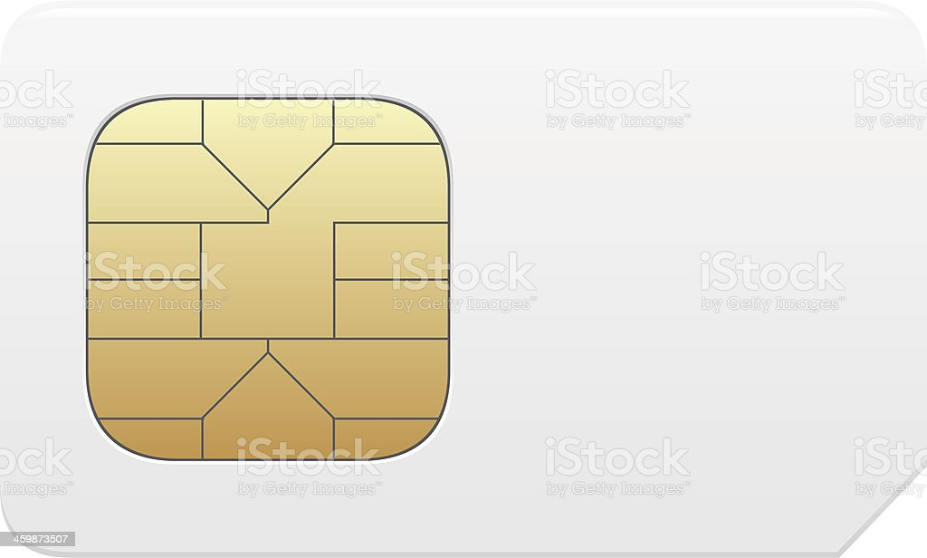 Close-up of a vector SIM card in gold and white vector art illustration