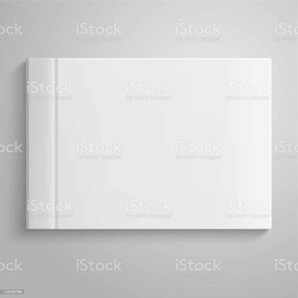 Close-up of a white closed hard copy photo album vector art illustration