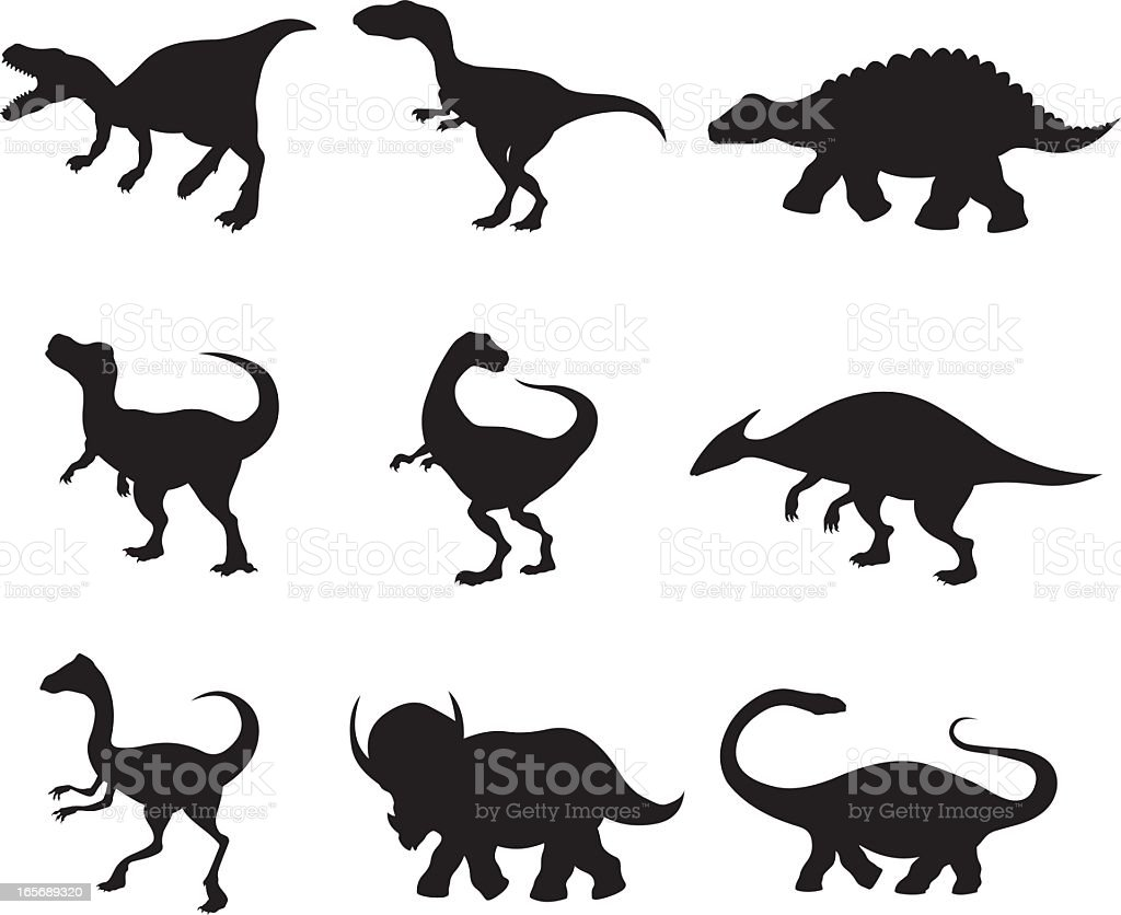 Close-up of assorted dinosaurs royalty-free stock vector art