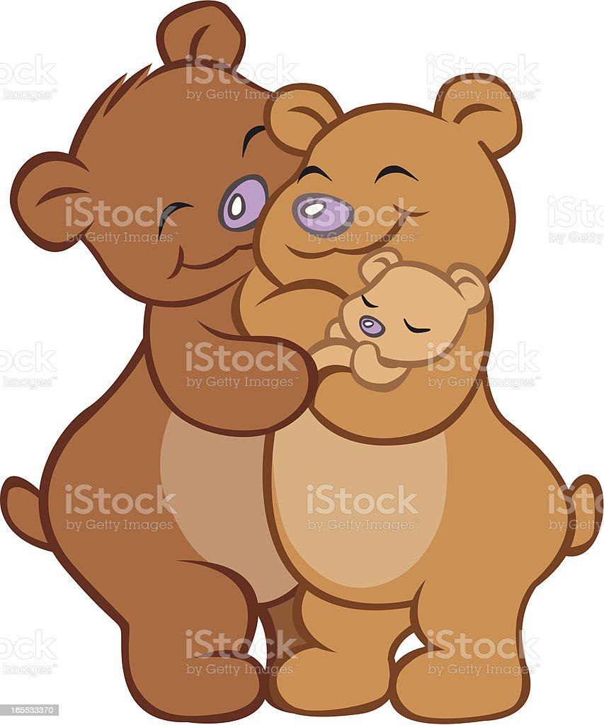 Close-up of bear family embracing vector art illustration