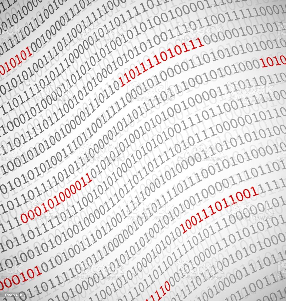 Close-up of binary data printout vector art illustration