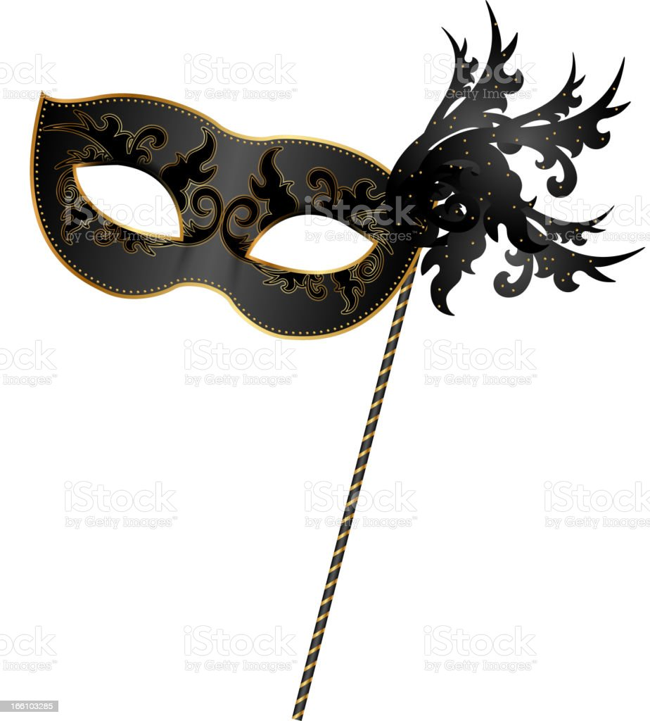 Close-up of black and gold masquerade mask royalty-free stock vector art