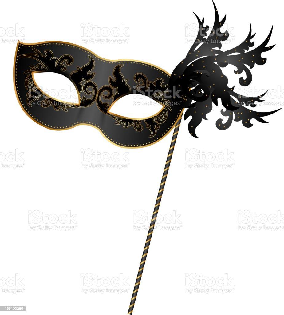 Close-up of black and gold masquerade mask vector art illustration