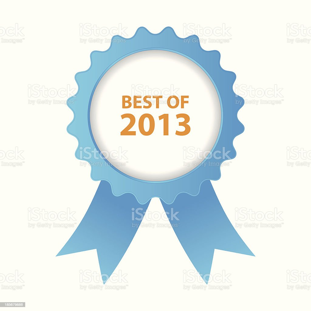Close-up of blue prize ribbon of Best of 2013 royalty-free stock vector art
