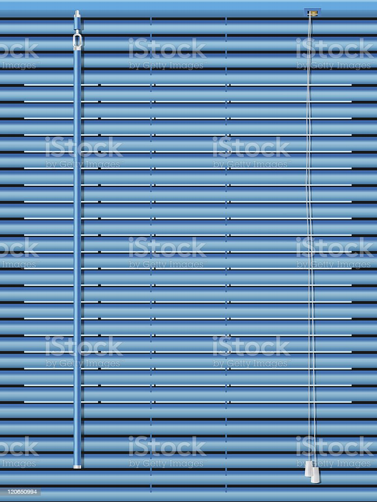 A close-up of blue Venetian blinds vector art illustration