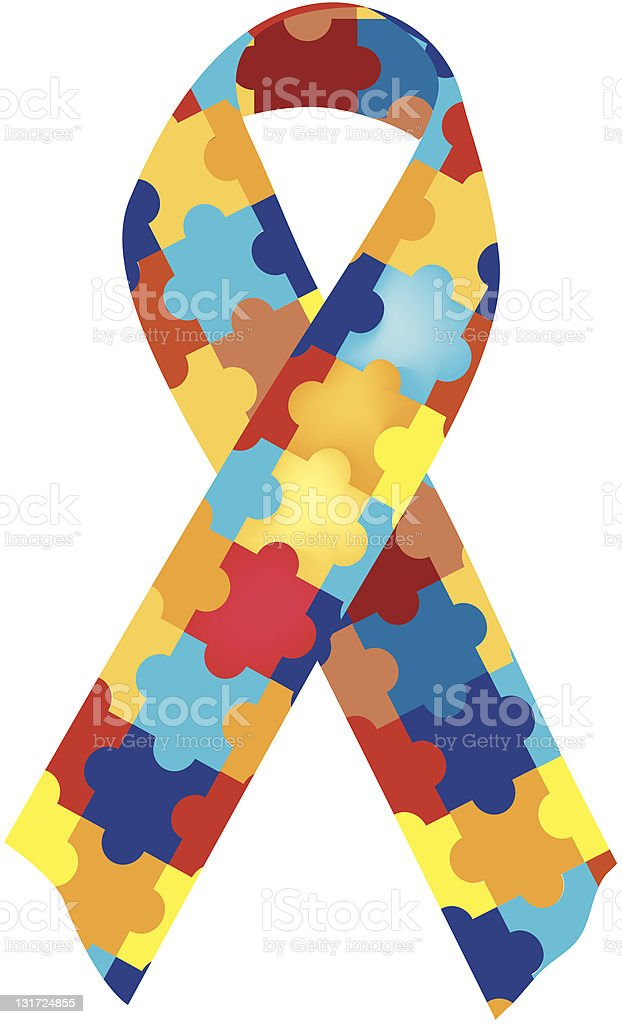 Close-up of colorful, puzzle-piece autism awareness ribbon royalty-free stock vector art