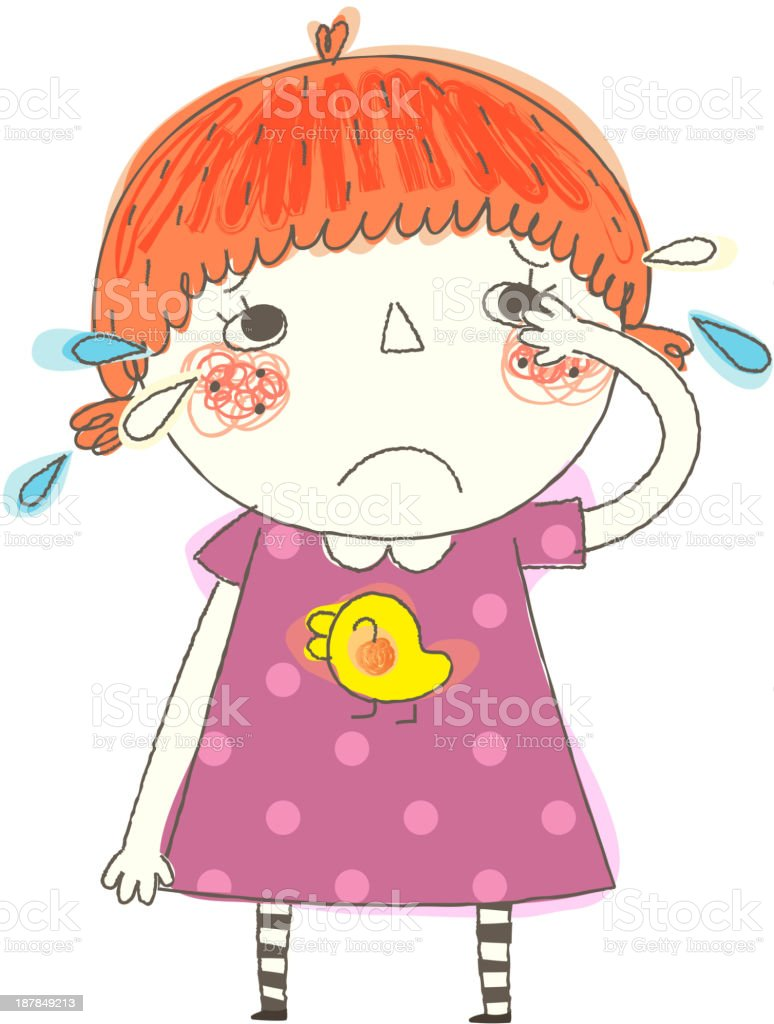 close-up of girl crying royalty-free stock vector art