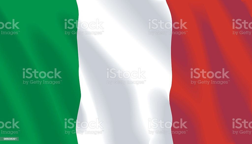 Close-up of green, white, and red Italian flag royalty-free stock vector art