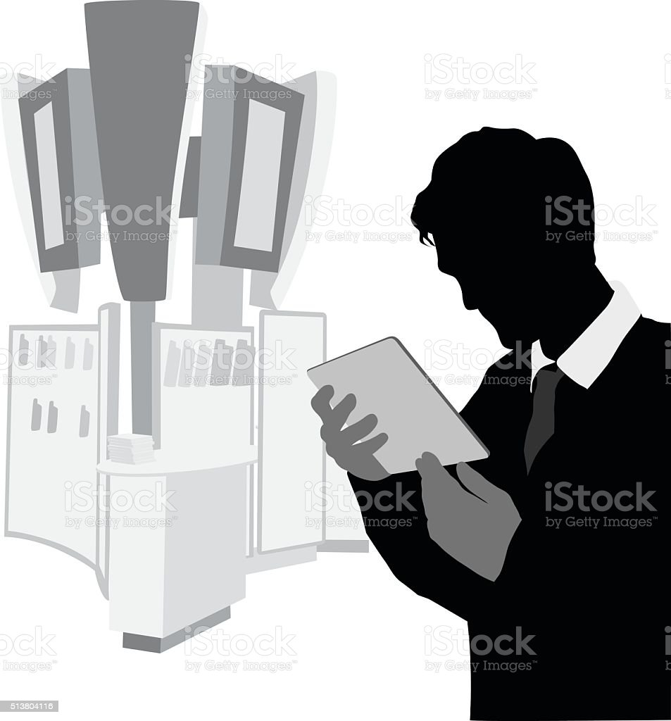 Closeup Of Man Shopping For A Tablet vector art illustration