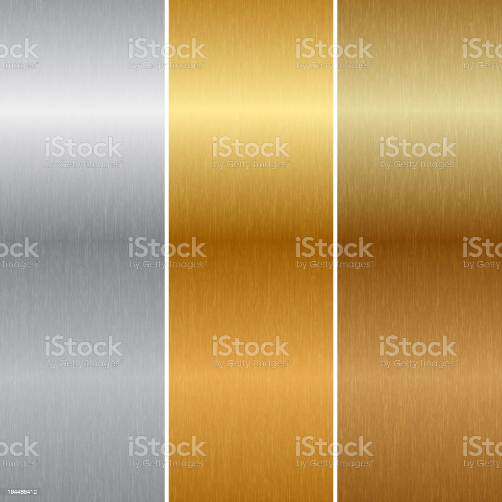 Close-up of metal background in gold, silver, and bronze vector art illustration