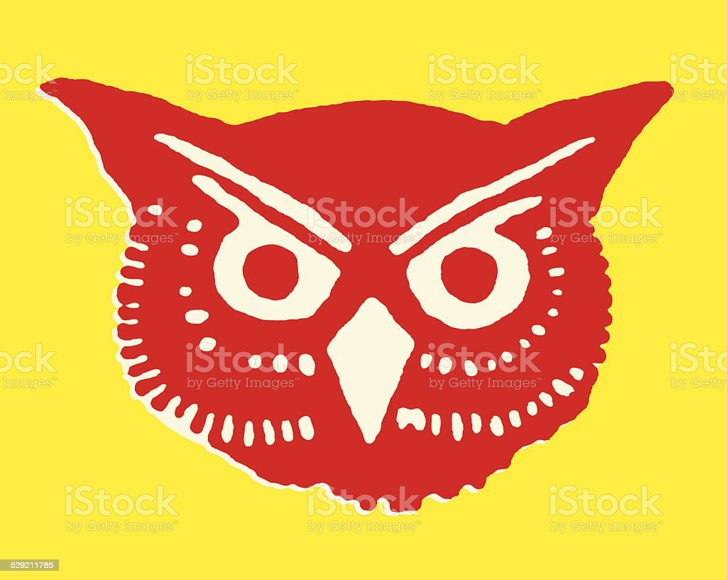 Close-Up of Owl's Face vector art illustration