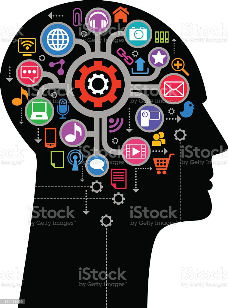 Close-up of silhouetted human hear with interface icons royalty-free stock vector art