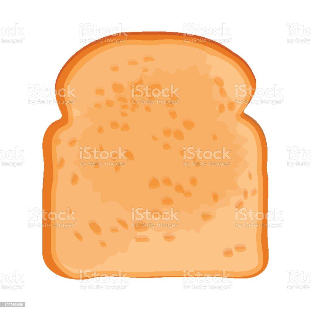 Closeup of slice of bread isolated illustration on white vector art illustration